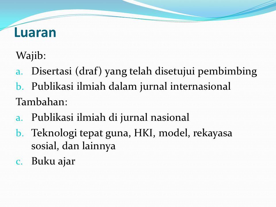 Luaran Wajib: a.Disertasi (draf) yang telah disetujui pembimbing b.