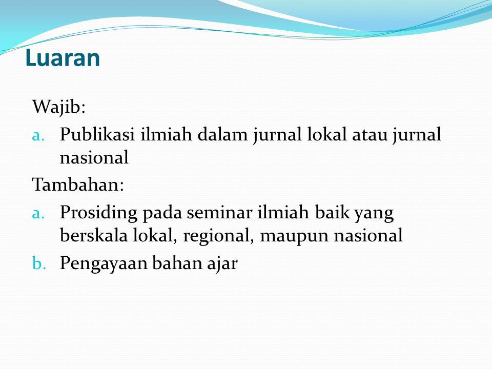 Luaran Wajib: a.Publikasi ilmiah dalam jurnal lokal atau jurnal nasional Tambahan: a.