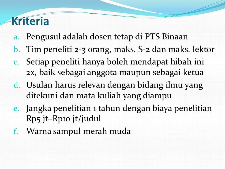 Kriteria a.Pengusul adalah dosen tetap di PTS Binaan b.