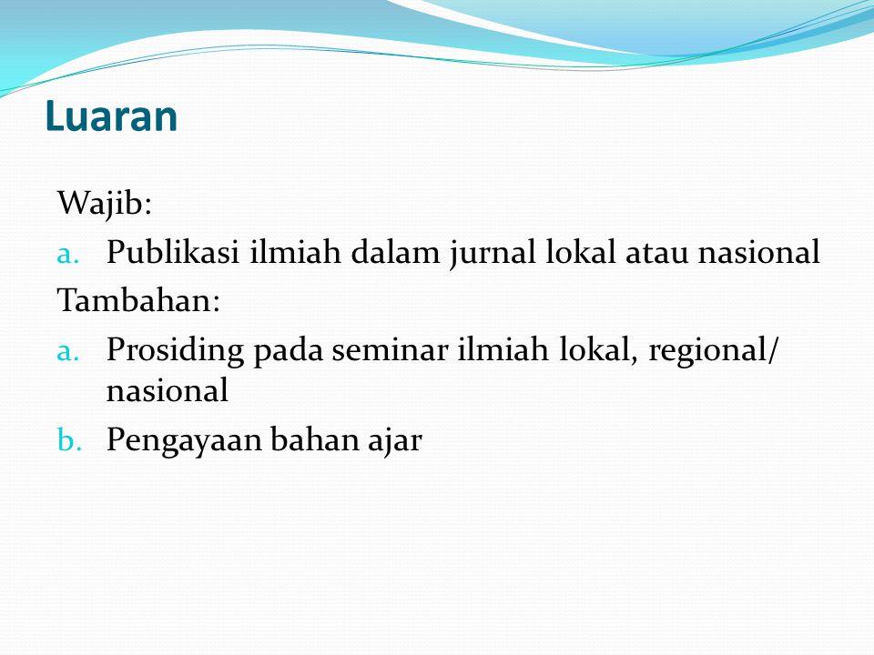 Luaran Wajib: a.Publikasi ilmiah dalam jurnal lokal atau nasional Tambahan: a.