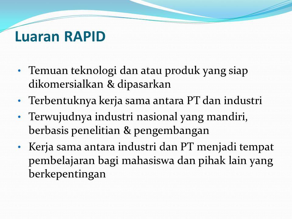 Luaran RAPID Temuan teknologi dan atau produk yang siap dikomersialkan & dipasarkan Terbentuknya kerja sama antara PT dan industri Terwujudnya industri nasional yang mandiri, berbasis penelitian & pengembangan Kerja sama antara industri dan PT menjadi tempat pembelajaran bagi mahasiswa dan pihak lain yang berkepentingan