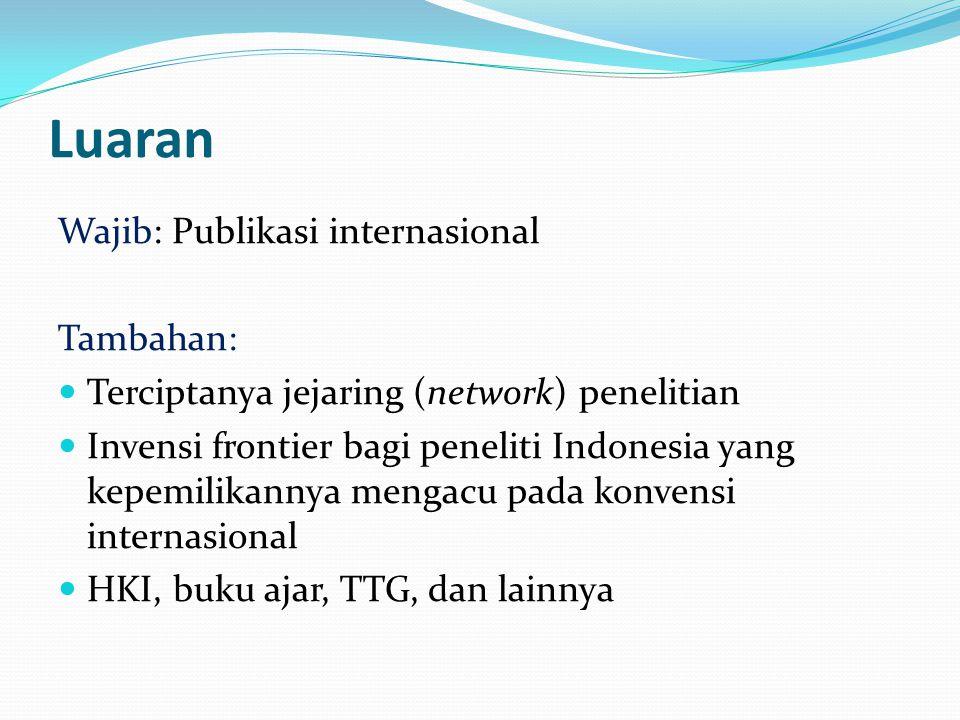 Luaran Wajib: Publikasi internasional Tambahan: Terciptanya jejaring (network) penelitian Invensi frontier bagi peneliti Indonesia yang kepemilikannya mengacu pada konvensi internasional HKI, buku ajar, TTG, dan lainnya