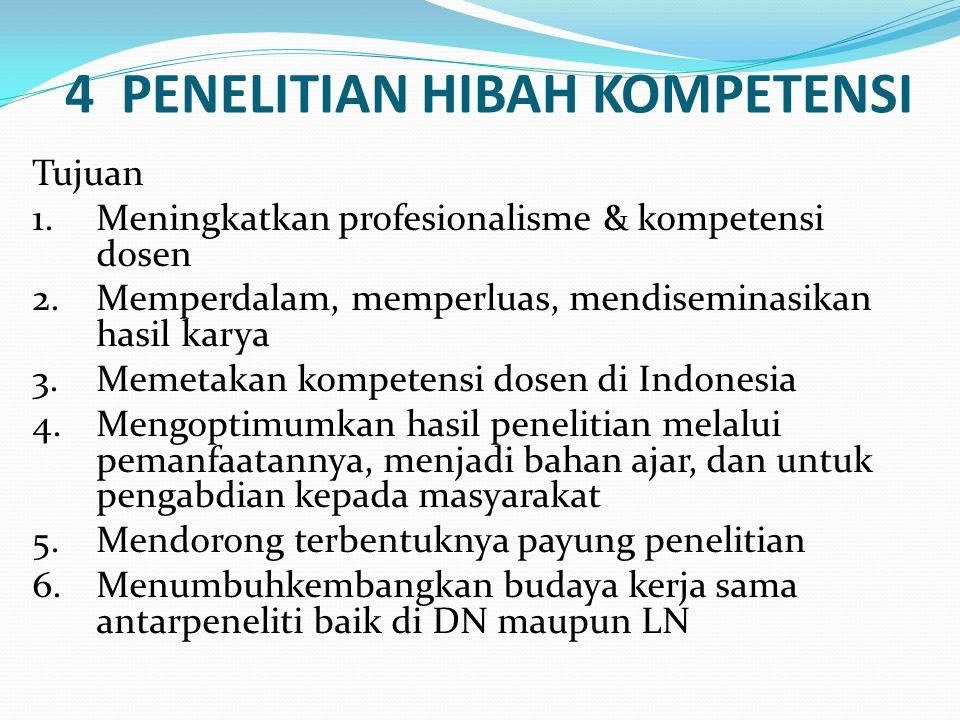 4 PENELITIAN HIBAH KOMPETENSI Tujuan 1.Meningkatkan profesionalisme & kompetensi dosen 2.Memperdalam, memperluas, mendiseminasikan hasil karya 3.Memetakan kompetensi dosen di Indonesia 4.Mengoptimumkan hasil penelitian melalui pemanfaatannya, menjadi bahan ajar, dan untuk pengabdian kepada masyarakat 5.Mendorong terbentuknya payung penelitian 6.Menumbuhkembangkan budaya kerja sama antarpeneliti baik di DN maupun LN