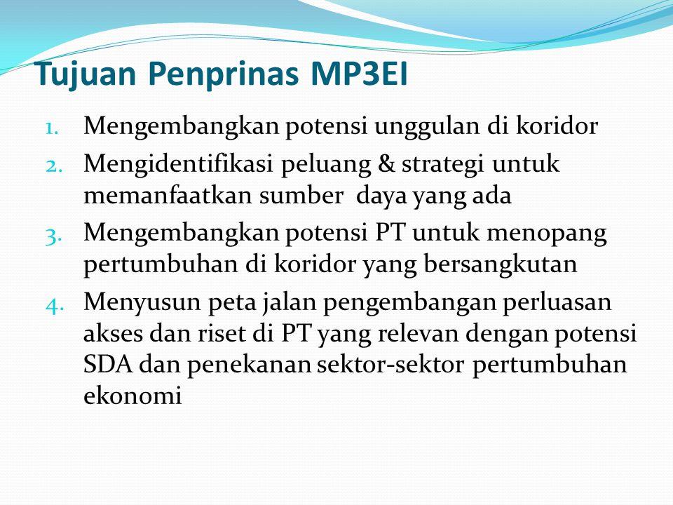 Tujuan Penprinas MP3EI 1.Mengembangkan potensi unggulan di koridor 2.