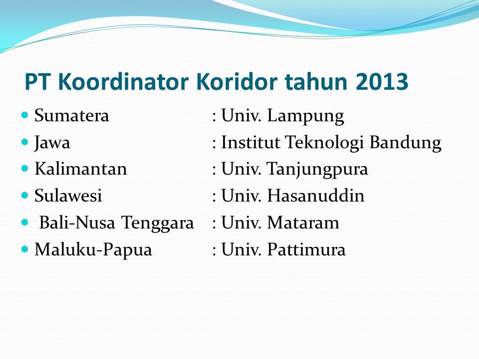 PT Koordinator Koridor tahun 2013 Sumatera: Univ.