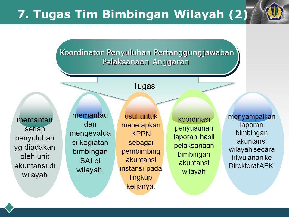 LOGO 7. Tugas Tim Bimbingan Wilayah (2) Koordinator Penyuluhan Pertanggungjawaban Pelaksanaan Anggaran Koordinator Penyuluhan Pertanggungjawaban Pelak