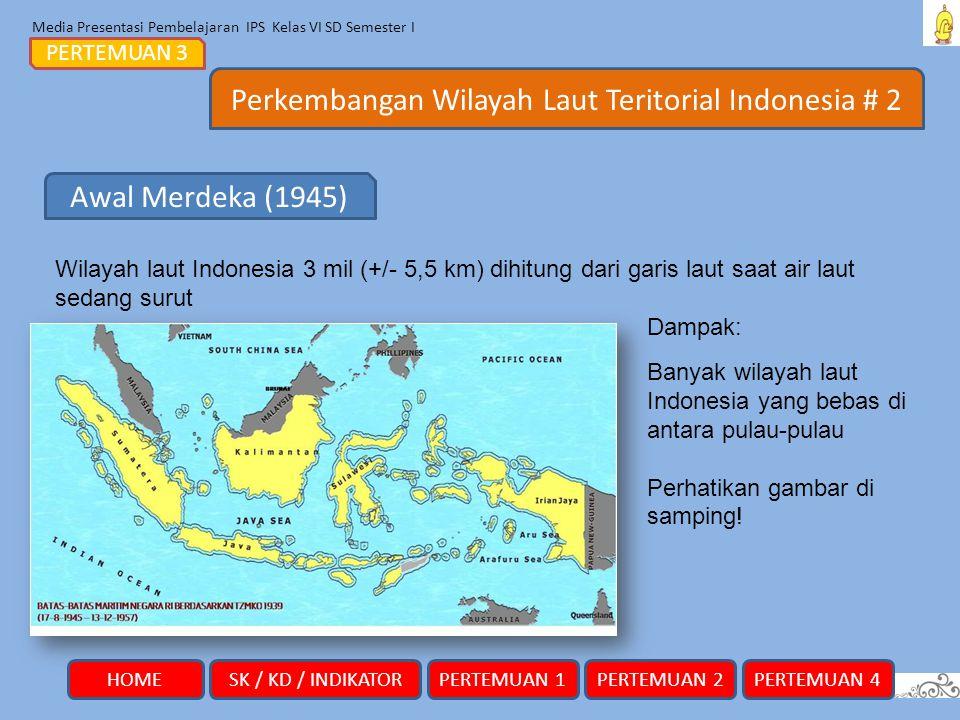 Media Presentasi Pembelajaran IPS Kelas VI SD Semester I Perkembangan Wilayah Laut Teritorial Indonesia # 2 PERTEMUAN 3 Wilayah laut Indonesia 3 mil (