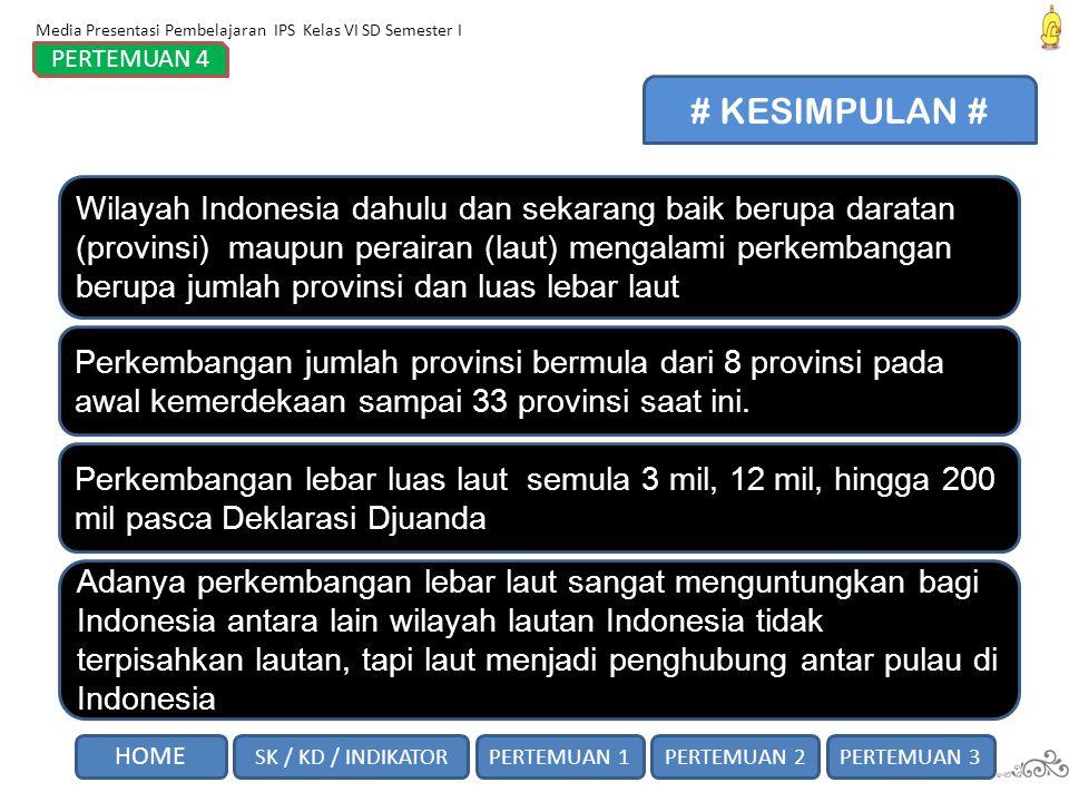 Wilayah Indonesia dahulu dan sekarang baik berupa daratan (provinsi) maupun perairan (laut) mengalami perkembangan berupa jumlah provinsi dan luas leb
