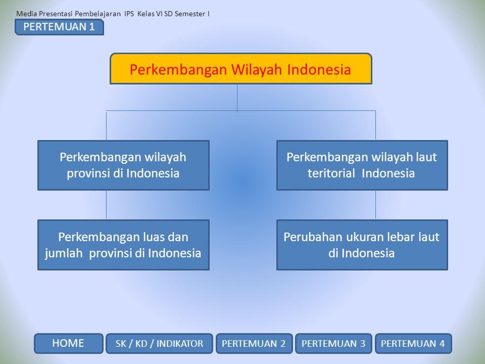 Media Presentasi Pembelajaran IPS Kelas VI SD Semester I SK / KD / INDIKATOR HOME PERTEMUAN 2PERTEMUAN 3PERTEMUAN 4 Perkembangan Wilayah Indonesia Per