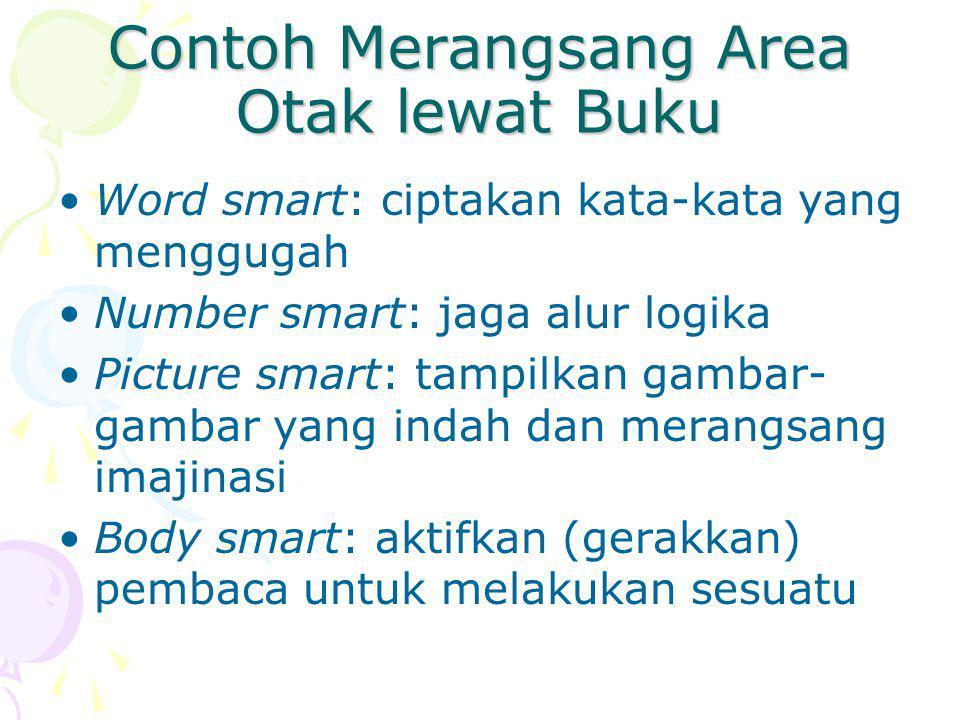 Contoh Merangsang Area Otak lewat Buku Word smart: ciptakan kata-kata yang menggugah Number smart: jaga alur logika Picture smart: tampilkan gambar- g