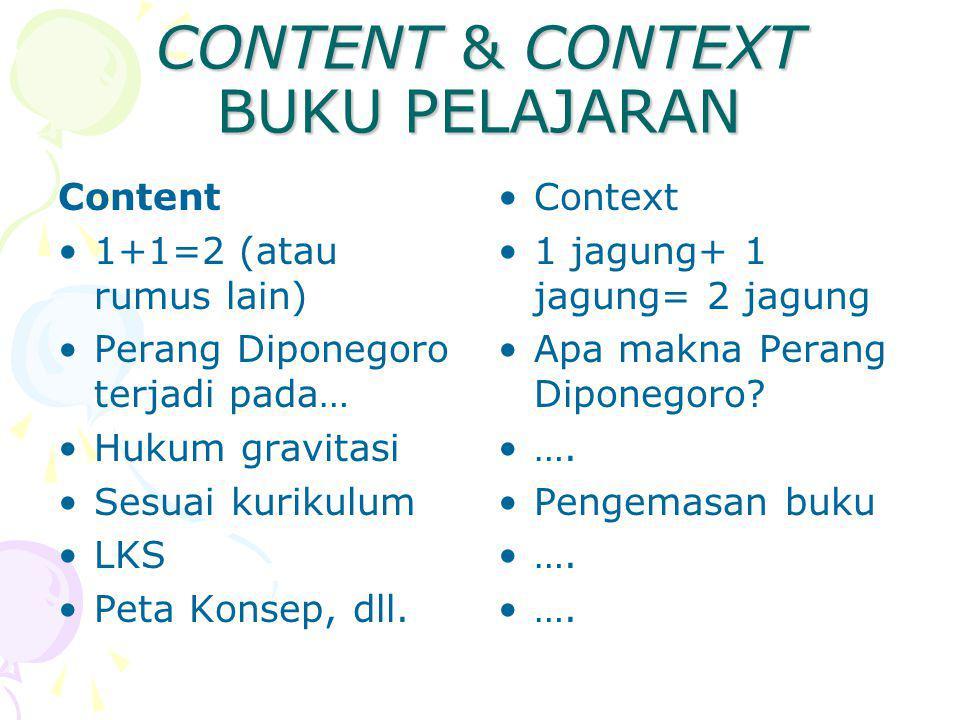 CONTENT & CONTEXT BUKU PELAJARAN Content 1+1=2 (atau rumus lain) Perang Diponegoro terjadi pada… Hukum gravitasi Sesuai kurikulum LKS Peta Konsep, dll