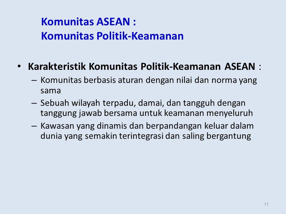 11 Komunitas ASEAN : Komunitas Politik-Keamanan Karakteristik Komunitas Politik-Keamanan ASEAN : – Komunitas berbasis aturan dengan nilai dan norma yang sama – Sebuah wilayah terpadu, damai, dan tangguh dengan tanggung jawab bersama untuk keamanan menyeluruh – Kawasan yang dinamis dan berpandangan keluar dalam dunia yang semakin terintegrasi dan saling bergantung