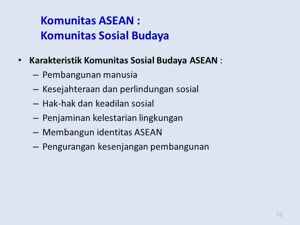 15 Komunitas ASEAN : Komunitas Sosial Budaya Karakteristik Komunitas Sosial Budaya ASEAN : – Pembangunan manusia – Kesejahteraan dan perlindungan sosial – Hak-hak dan keadilan sosial – Penjaminan kelestarian lingkungan – Membangun identitas ASEAN – Pengurangan kesenjangan pembangunan