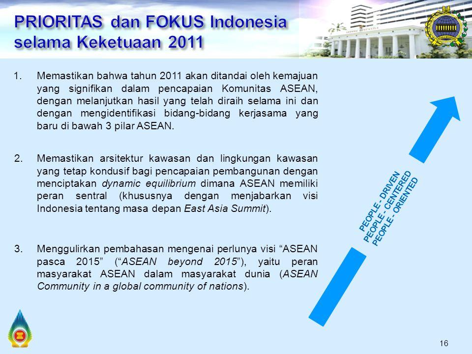 16 1.Memastikan bahwa tahun 2011 akan ditandai oleh kemajuan yang signifikan dalam pencapaian Komunitas ASEAN, dengan melanjutkan hasil yang telah diraih selama ini dan dengan mengidentifikasi bidang-bidang kerjasama yang baru di bawah 3 pilar ASEAN.