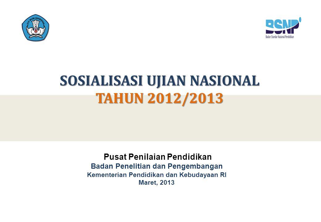 SOSIALISASI UJIAN NASIONAL TAHUN 2012/2013 Pusat Penilaian Pendidikan Badan Penelitian dan Pengembangan Kementerian Pendidikan dan Kebudayaan RI Maret, 2013
