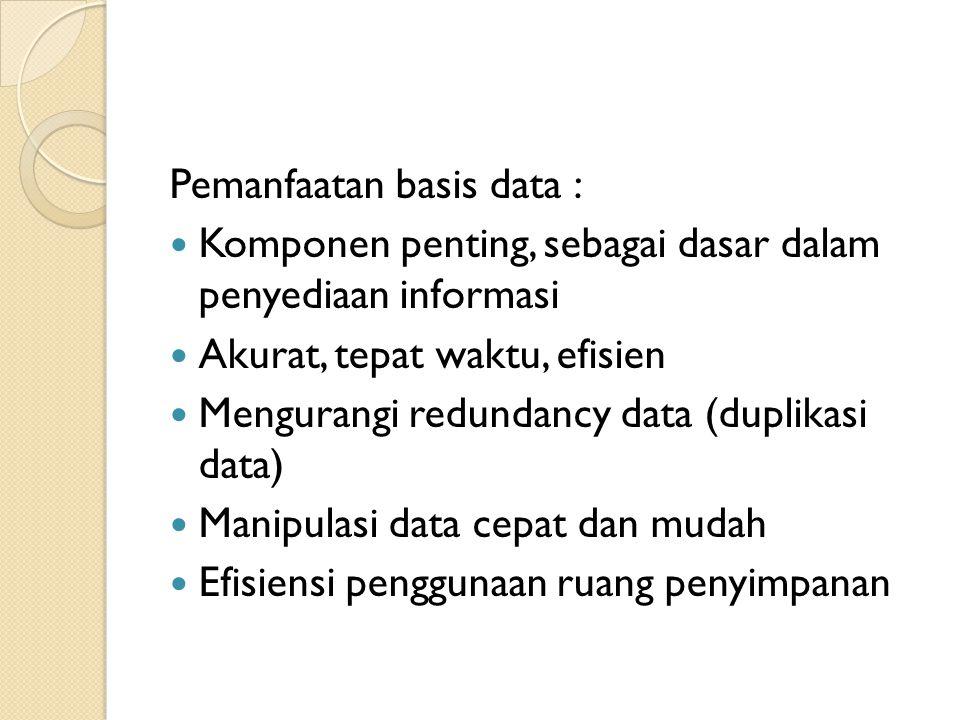Kriteria Basis Data Bersifat data oriented, bukan program oriented Dapat digunakan oleh beberapa program aplikasi tanpa merubah basis datanya Dapat digunakan dengan cara berbeda- beda Kerangkapan data minimal