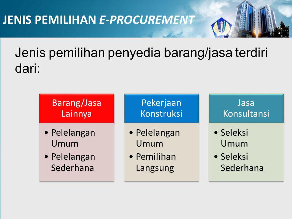 JENIS PEMILIHAN E-PROCUREMENT Jenis pemilihan penyedia barang/jasa terdiri dari: Barang/Jasa Lainnya Pelelangan Umum Pelelangan Sederhana Pekerjaan Ko