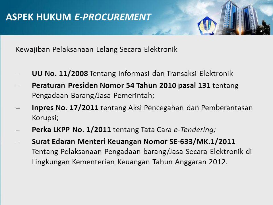 Perpres 54 KETENTUAN UMUM PENGADAAN SECARA ELEKTRONIK Pasal 106 (1) Pengadaan Barang/Jasa Pemerintah dapat dilakukan secara elektronik.