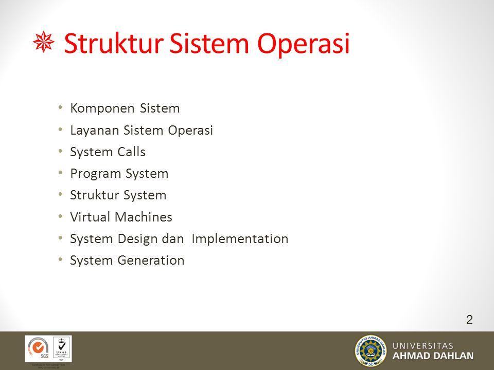  Struktur Sistem Operasi Komponen Sistem Layanan Sistem Operasi System Calls Program System Struktur System Virtual Machines System Design dan Implem