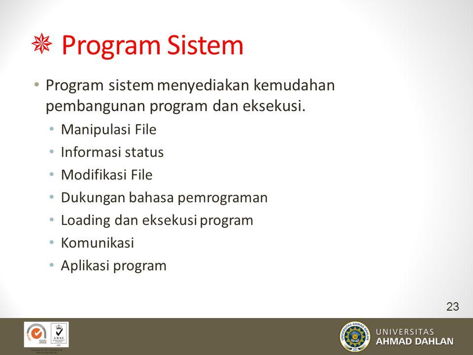  Program Sistem Program sistem menyediakan kemudahan pembangunan program dan eksekusi. Manipulasi File Informasi status Modifikasi File Dukungan baha