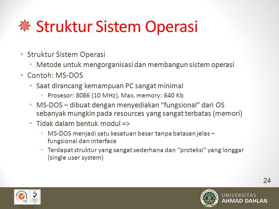  Struktur Sistem Operasi Struktur Sistem Operasi Metode untuk mengorganisasi dan membangun sistem operasi Contoh: MS-DOS Saat dirancang kemampuan PC