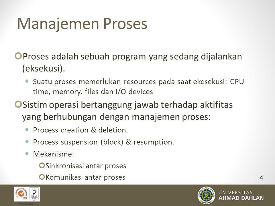 Manajemen Proses Proses adalah sebuah program yang sedang dijalankan (eksekusi). Suatu proses memerlukan resources pada saat ekesekusi: CPU time, memo