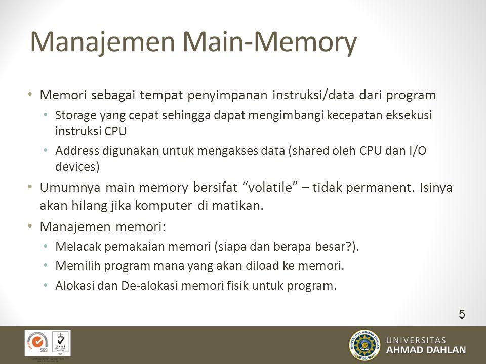 Manajemen Main-Memory Memori sebagai tempat penyimpanan instruksi/data dari program Storage yang cepat sehingga dapat mengimbangi kecepatan eksekusi i