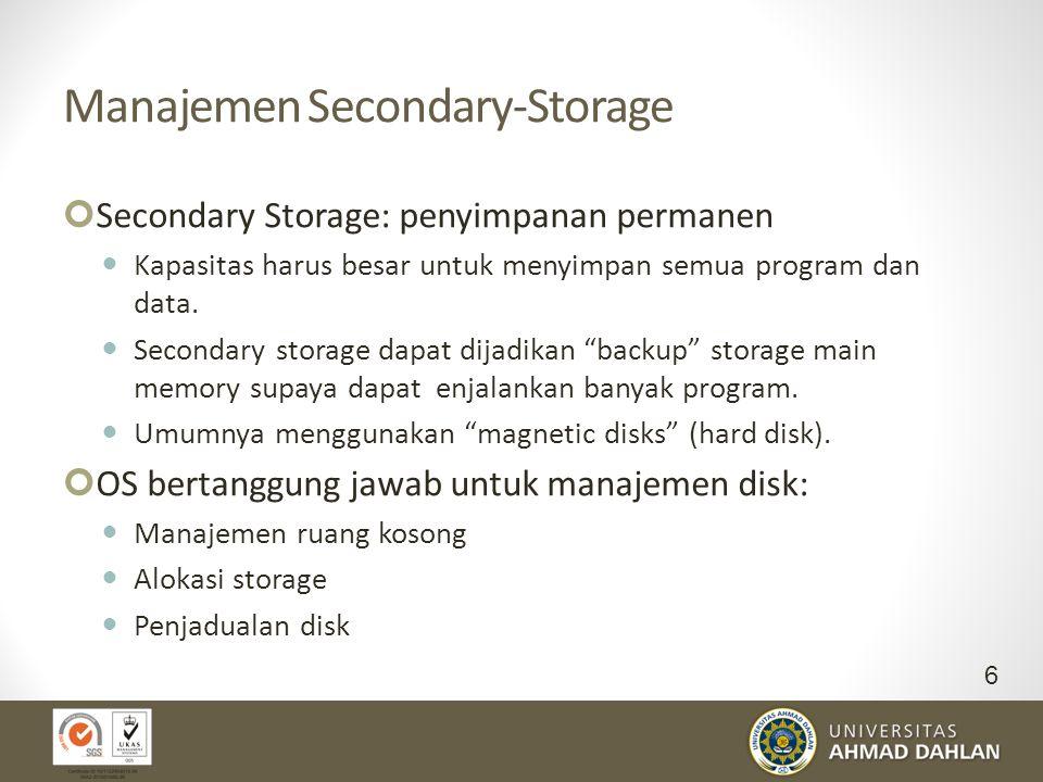 Manajemen Secondary-Storage Secondary Storage: penyimpanan permanen Kapasitas harus besar untuk menyimpan semua program dan data. Secondary storage da