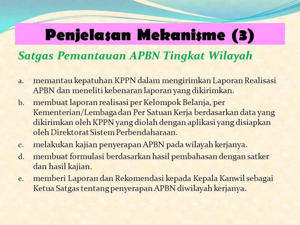 Penjelasan Mekanisme (3) Satgas Pemantauan APBN Tingkat Wilayah a. memantau kepatuhan KPPN dalam mengirimkan Laporan Realisasi APBN dan meneliti keben