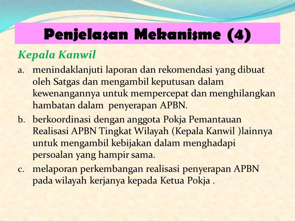 Penjelasan Mekanisme (4) Kepala Kanwil a. menindaklanjuti laporan dan rekomendasi yang dibuat oleh Satgas dan mengambil keputusan dalam kewenangannya