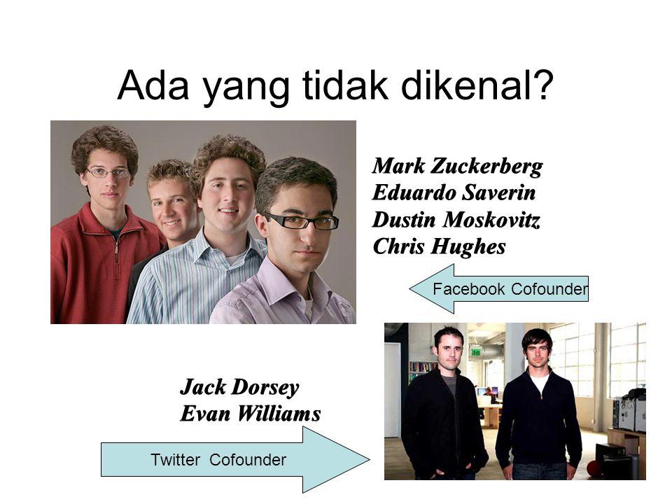 Ada yang tidak dikenal? Mark Zuckerberg Eduardo Saverin Dustin Moskovitz Chris Hughes Jack Dorsey Evan Williams Facebook Cofounder Twitter Cofounder