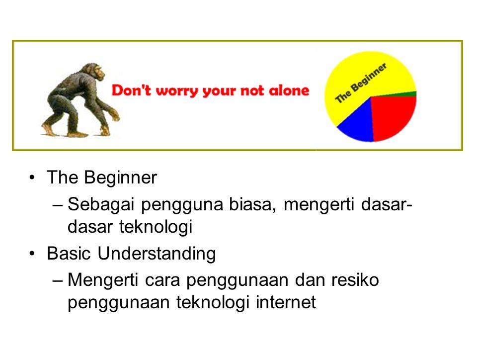 The Beginner –Sebagai pengguna biasa, mengerti dasar- dasar teknologi Basic Understanding –Mengerti cara penggunaan dan resiko penggunaan teknologi in