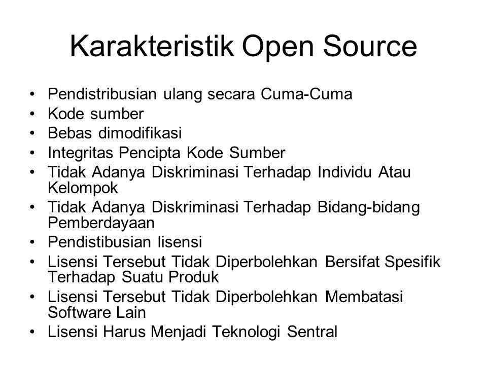 Karakteristik Open Source Pendistribusian ulang secara Cuma-Cuma Kode sumber Bebas dimodifikasi Integritas Pencipta Kode Sumber Tidak Adanya Diskrimin