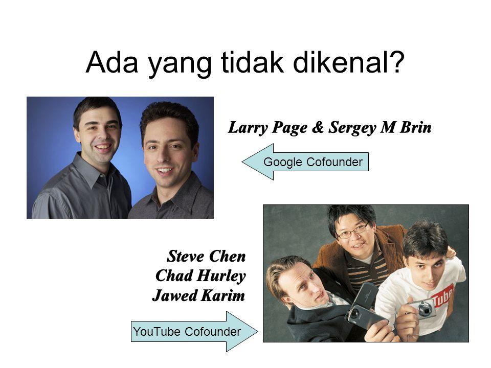 Ada yang tidak dikenal? Larry Page & Sergey M Brin Steve Chen Chad Hurley Jawed Karim Google Cofounder YouTube Cofounder