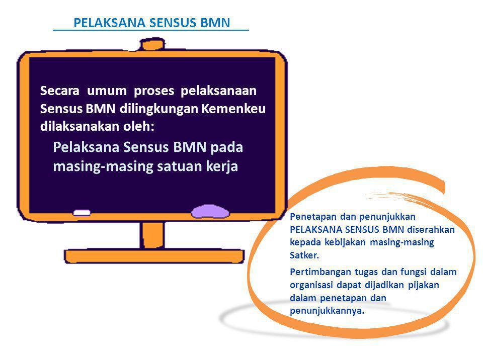 Penetapan dan penunjukkan PELAKSANA SENSUS BMN diserahkan kepada kebijakan masing-masing Satker. Pertimbangan tugas dan fungsi dalam organisasi dapat