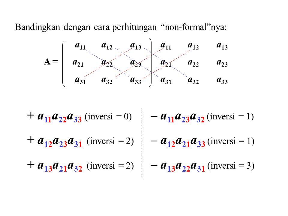 Bandingkan dengan cara perhitungan non-formal nya: a 11 a 12 a 13 a 11 a 12 a 13 A = a 21 a 22 a 23 a 21 a 22 a 23 a 31 a 32 a 33 a 31 a 32 a 33 + a 11 a 22 a 33 (inversi = 0) – a 11 a 23 a 32 (inversi = 1) + a 12 a 23 a 31 (inversi = 2) – a 12 a 21 a 33 (inversi = 1) + a 13 a 21 a 32 (inversi = 2) – a 13 a 22 a 31 (inversi = 3)