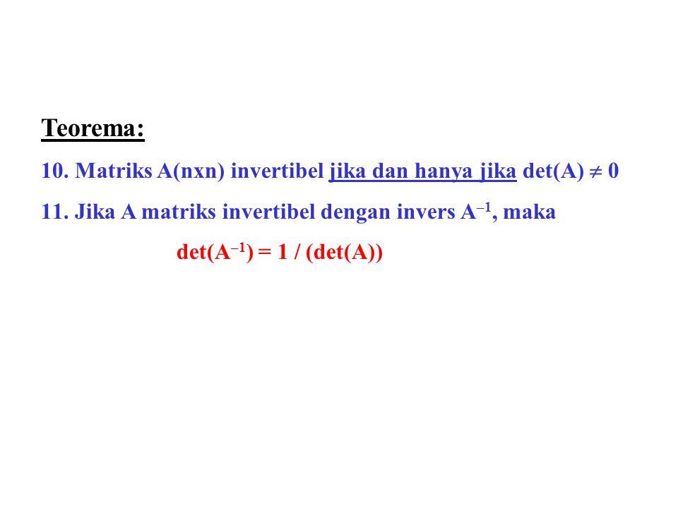 Teorema: 10.Matriks A(nxn) invertibel jika dan hanya jika det(A)  0 11.Jika A matriks invertibel dengan invers A –1, maka det(A –1 ) = 1 / (det(A))