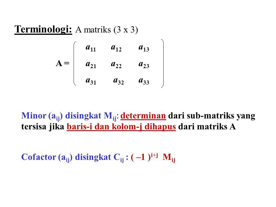 Terminologi: A matriks (3 x 3) Minor (a ij ) disingkat M ij : determinan dari sub-matriks yang tersisa jika baris-i dan kolom-j dihapus dari matriks A Cofactor (a ij ) disingkat C ij : ( –1 ) i+j M ij a 11 a 12 a 13 A = a 21 a 22 a 23 a 31 a 32 a 33