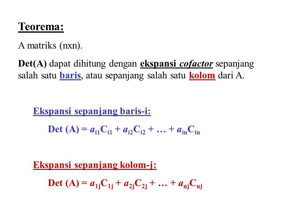 Teorema: A matriks (nxn).