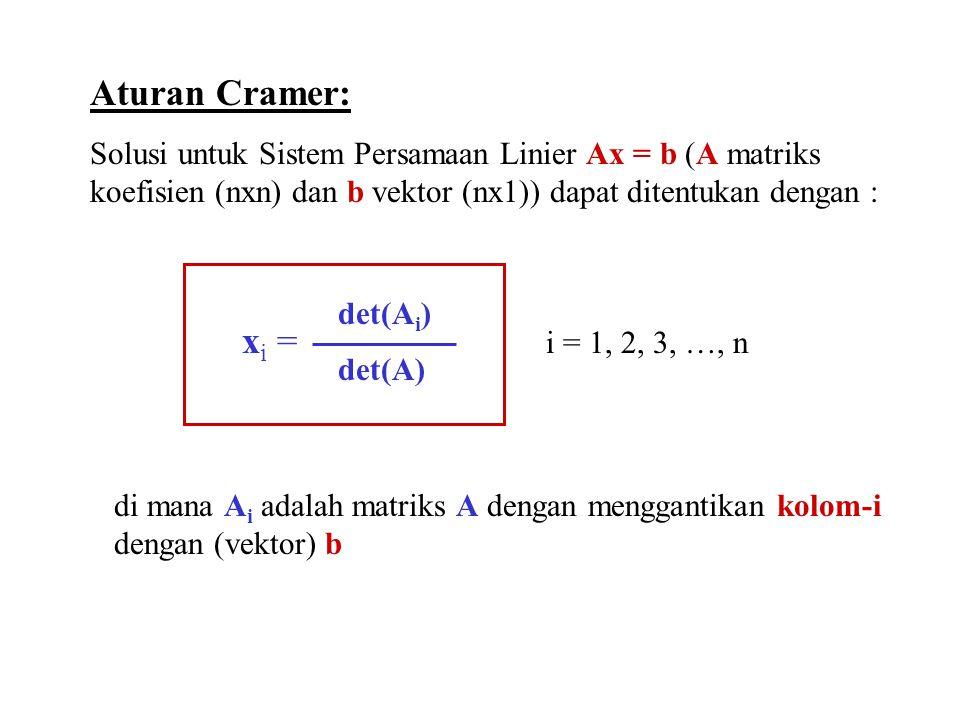 Aturan Cramer: Solusi untuk Sistem Persamaan Linier Ax = b (A matriks koefisien (nxn) dan b vektor (nx1)) dapat ditentukan dengan : x i = i = 1, 2, 3, …, n det(A i ) det(A) di mana A i adalah matriks A dengan menggantikan kolom-i dengan (vektor) b