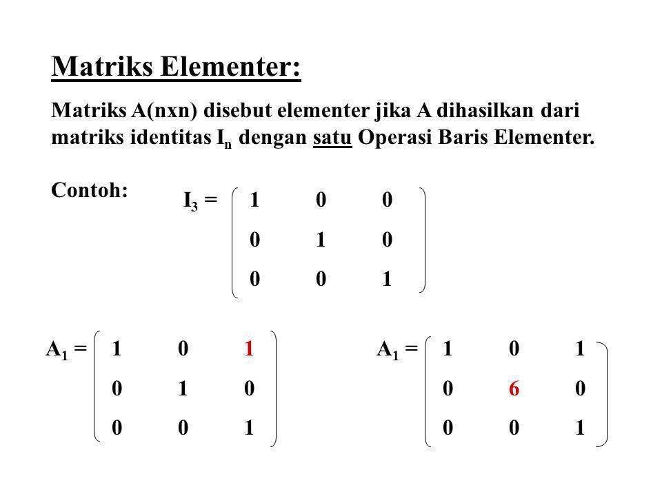 Matriks Elementer: Matriks A(nxn) disebut elementer jika A dihasilkan dari matriks identitas I n dengan satu Operasi Baris Elementer. Contoh: I 3 = 10