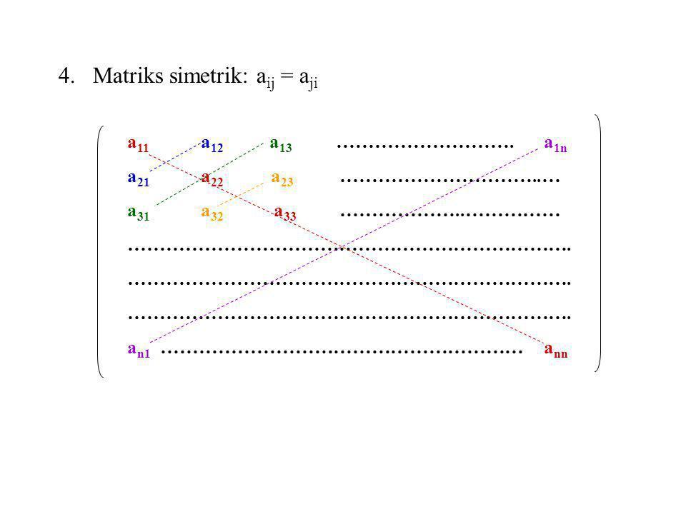 4.Matriks simetrik: a ij = a ji a 11 a 12 a 13 ………………………. a 1n a 21 a 22 a 23 …………………………..… a 31 a 32 a 33 ………………..…………… ……………………………………………………………. a n1