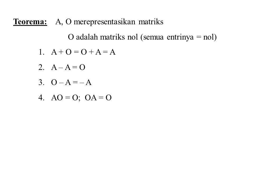 Teorema: A, O merepresentasikan matriks O adalah matriks nol (semua entrinya = nol) 1.A + O = O + A = A 2.A – A = O 3.O – A = – A 4.AO = O; OA = O