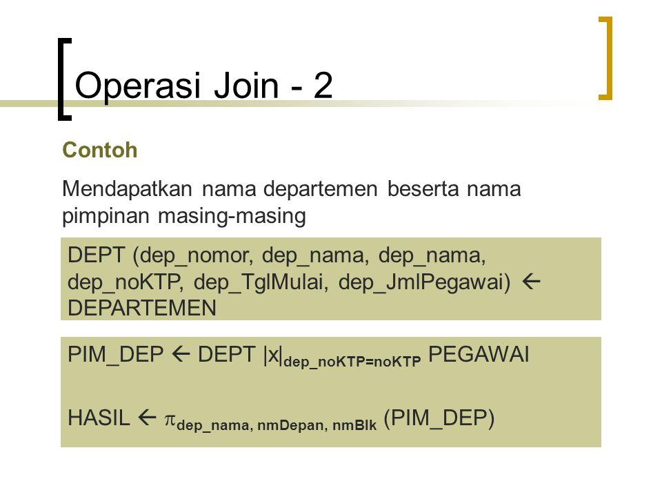 Operasi Join - 2 Contoh Mendapatkan nama departemen beserta nama pimpinan masing-masing DEPT (dep_nomor, dep_nama, dep_nama, dep_noKTP, dep_TglMulai,