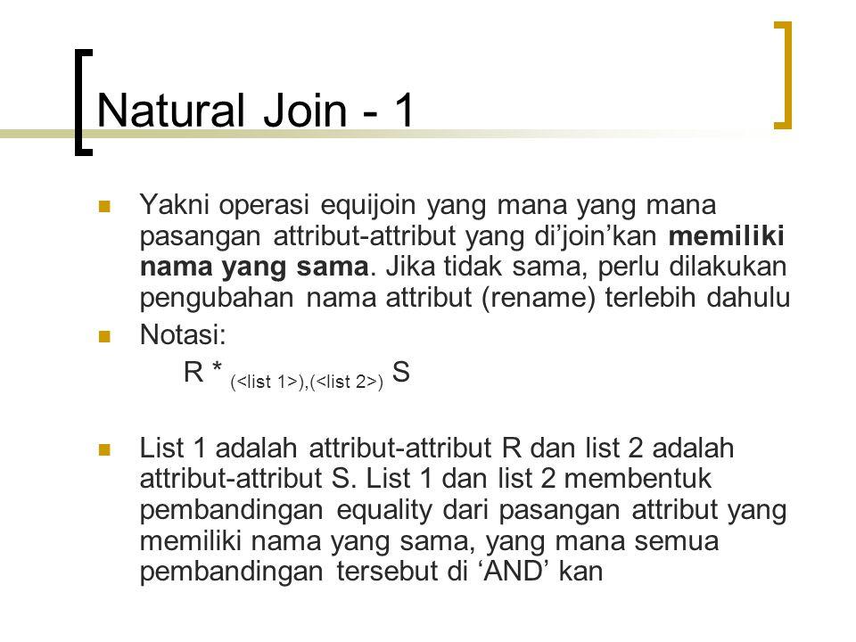 Natural Join - 1 Yakni operasi equijoin yang mana yang mana pasangan attribut-attribut yang di'join'kan memiliki nama yang sama. Jika tidak sama, perl