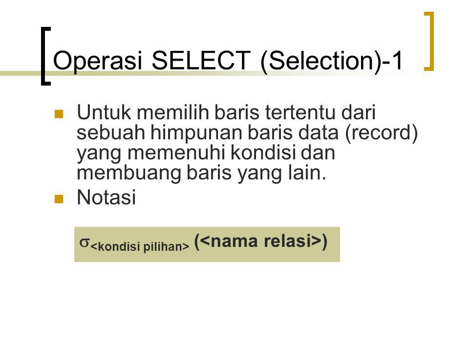 Operasi SELECT (Selection)-2 Contoh  dep_nomor=4 (PEGAWAI) untuk memilih sub himpunan pegawai yang bekerja departemen nomor 4  gaji>30000 AND dep_nomor=3 (PEGAWAI) untuk memilih sub himpunan pegawai yang memiliki gaji lebih dari 30000 yang bekerja di departemen 3