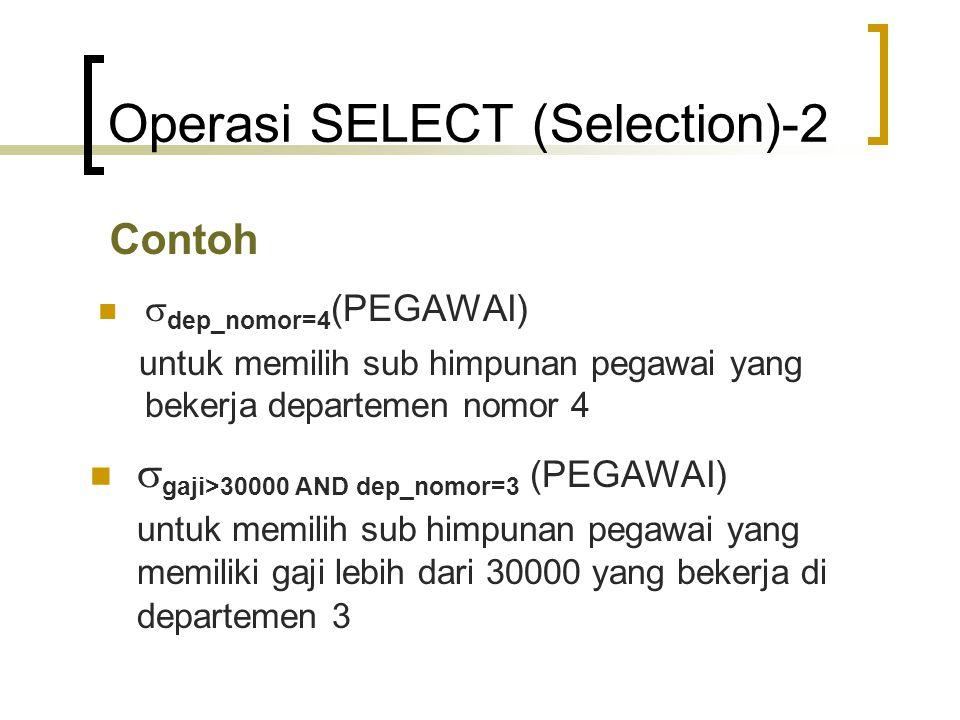 Operasi SELECT (Selection)-2 Contoh  dep_nomor=4 (PEGAWAI) untuk memilih sub himpunan pegawai yang bekerja departemen nomor 4  gaji>30000 AND dep_no