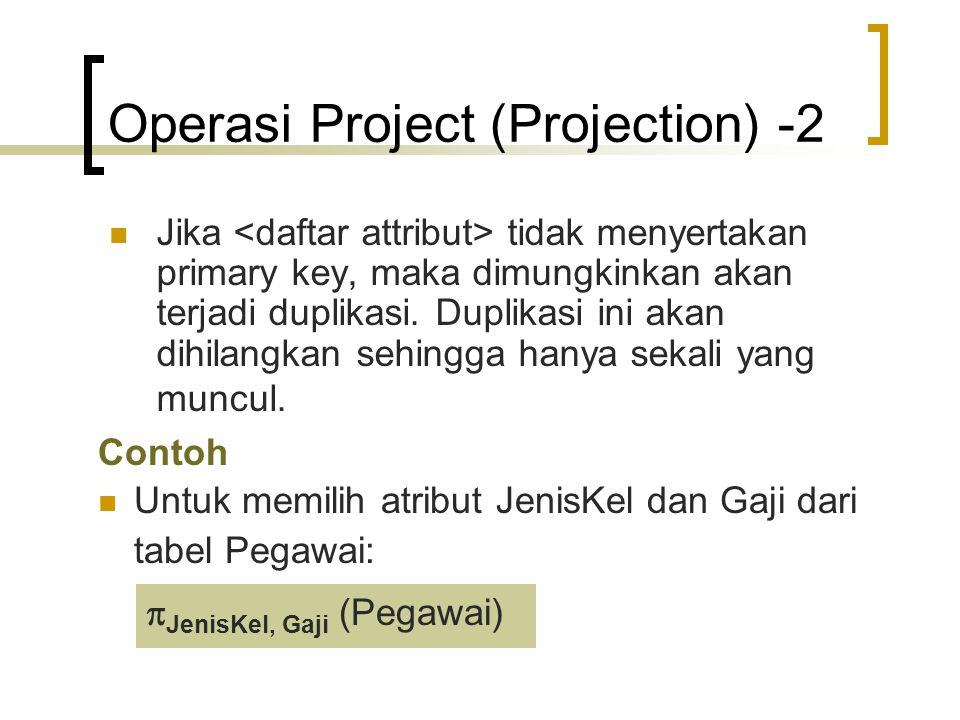 Operasi Project (Projection) -2 Jika tidak menyertakan primary key, maka dimungkinkan akan terjadi duplikasi. Duplikasi ini akan dihilangkan sehingga