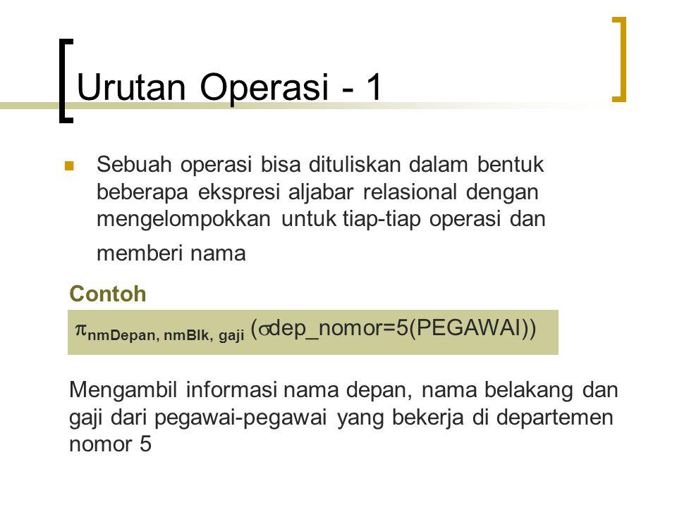 Urutan Operasi - 2 bisa ditulis dalam bentuk: PEG_DEP5   dep_nomor=5 (PEGAWAI) (tabel pegawai dipilah dulu hanya dengan mengambil yg memenuhi dep_nomor=5 dan disimpan dalam relasi dengan nama PEG_DEP5) HASIL   nmDepan, nmBlk, gaji (PEG_DEP5) (kemudian setelah itu, relasi PEG_DEP5 dipilah hanya diambil kolom-kolom nmDepan, nmBlk dan gaji)