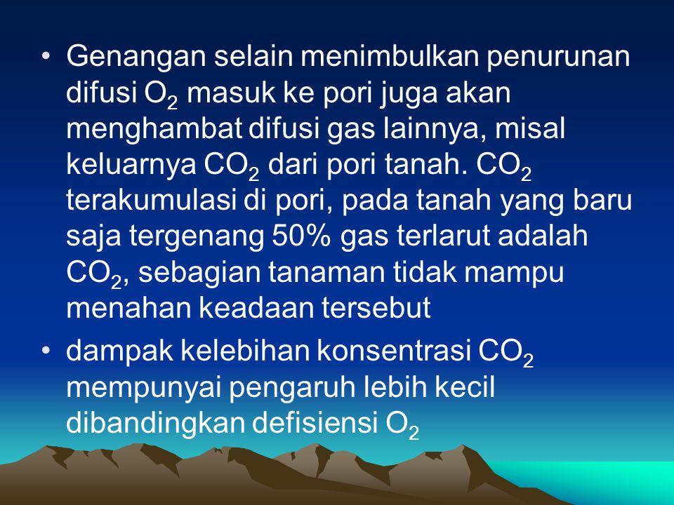 Genangan selain menimbulkan penurunan difusi O 2 masuk ke pori juga akan menghambat difusi gas lainnya, misal keluarnya CO 2 dari pori tanah. CO 2 ter